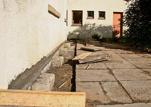 Shuttering almost ready to come off in readness for re-laying the paving.